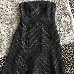 Ann Taylor black strapless lined cocktail dress 10